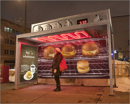 AdFreak: Caribou Coffee turns up heat at bus shelters